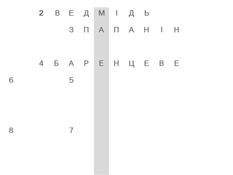 2 В Е Д М І Д Ь 3 П А П А Н І Н 4 Б А Р Е Н Ц Е В Е 6 5 8 7