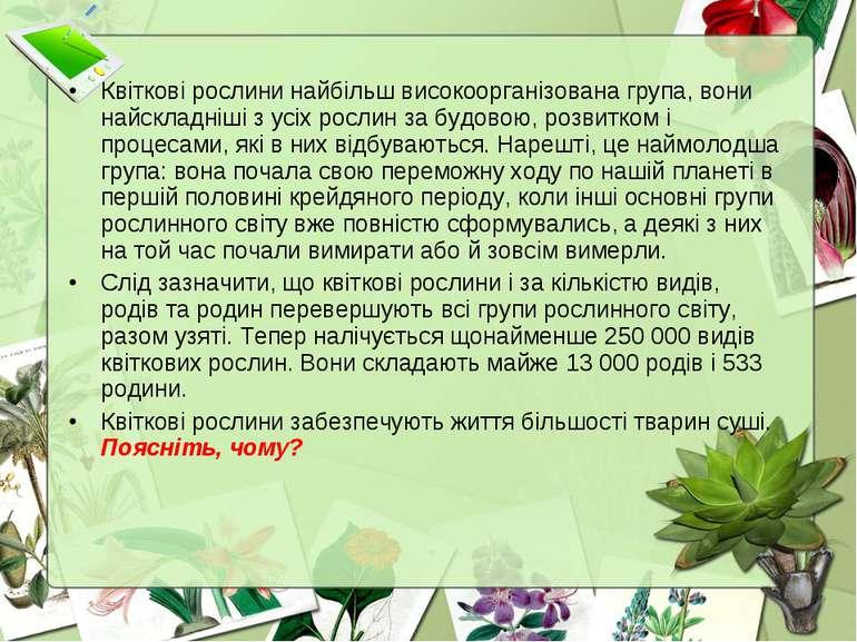 Квіткові рослини найбільш високоорганізована група, вони найскладніші з усіх ...