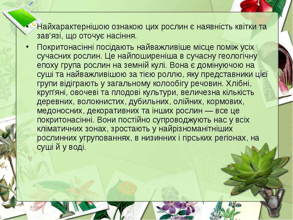 Найхарактернішою ознакою цих рослин є наявність квітки та зав'язі, що оточує ...