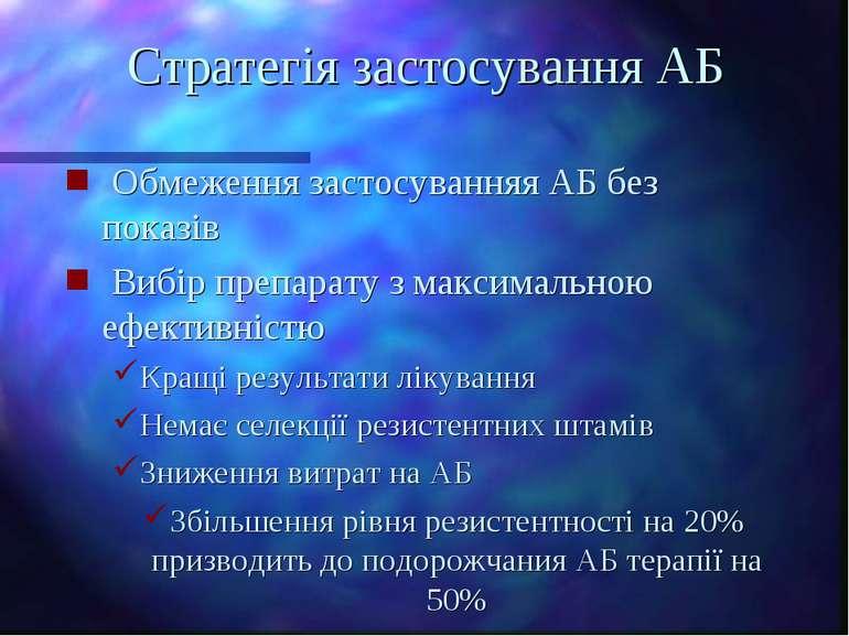 Стратегія застосування АБ Обмеження застосуванняя АБ без показів Вибір препар...