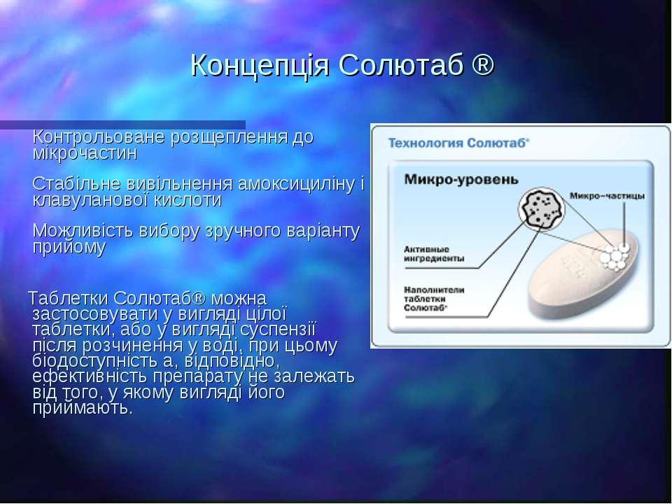 Концепція Солютаб ® Контрольоване розщеплення до мікрочастин Стабільне вивіль...