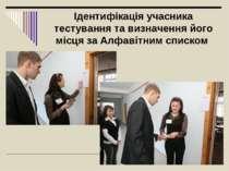 Ідентифікація учасника тестування та визначення його місця за Алфавітним списком