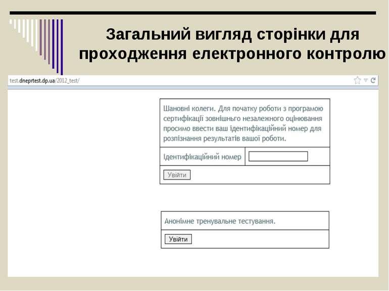 Загальний вигляд сторінки для проходження електронного контролю