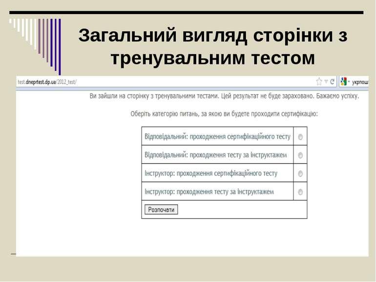Загальний вигляд сторінки з тренувальним тестом