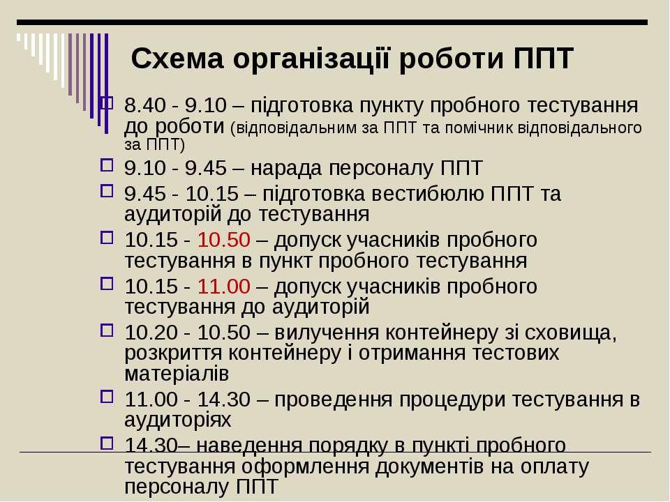 Схема організації роботи ППТ 8.40 - 9.10 – підготовка пункту пробного тестува...