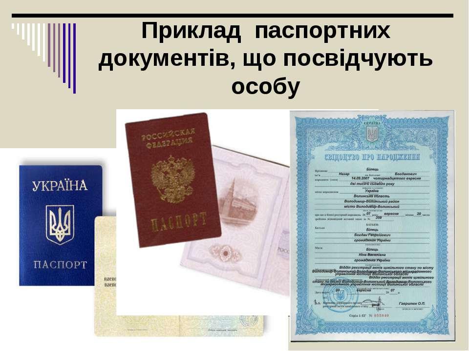 Приклад паспортних документів, що посвідчують особу