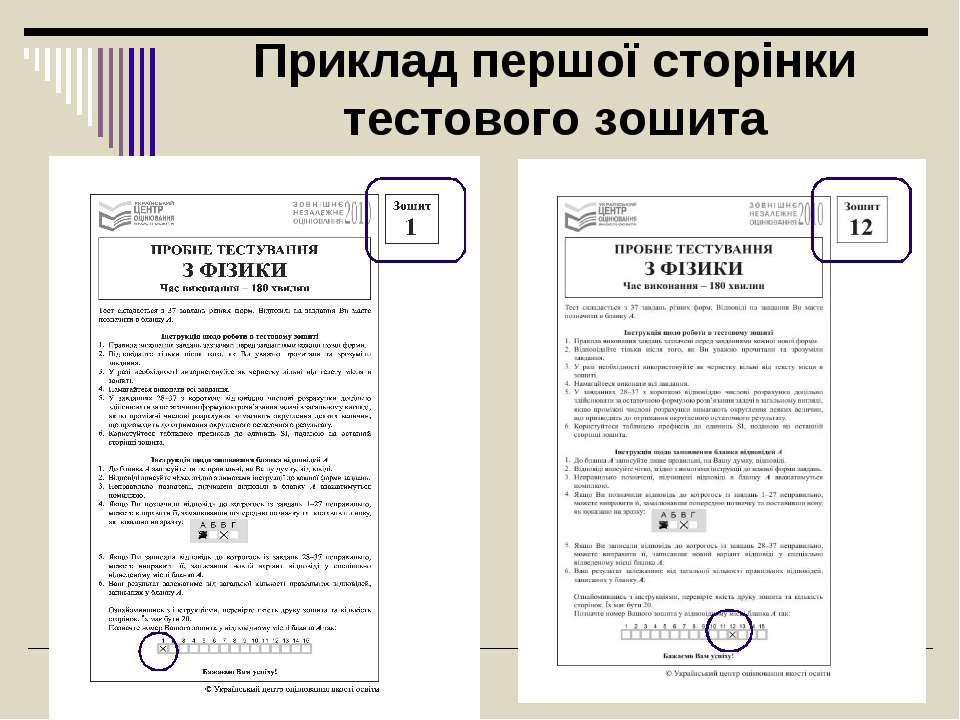 Приклад першої сторінки тестового зошита