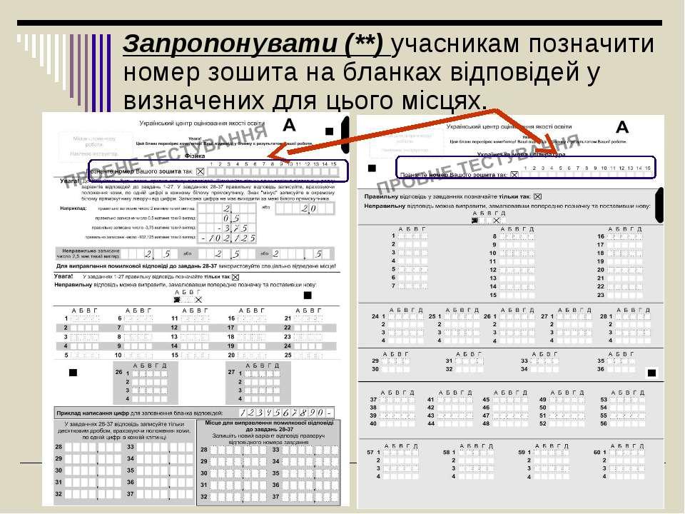 Запропонувати (**)учасникам позначити номер зошита на бланках відповідей у в...