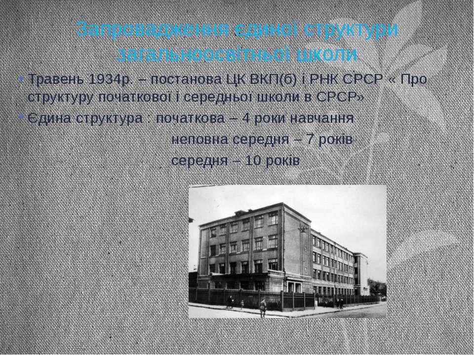 Запровадження єдиної структури загальноосвітньої школи Травень 1934р. – поста...