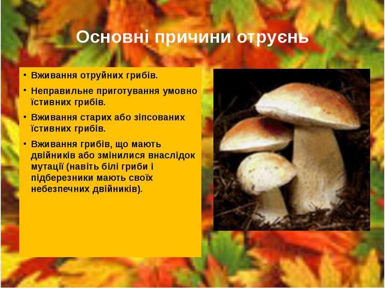 Основні причини отруєнь Вживання отруйних грибів. Неправильне приготування ум...