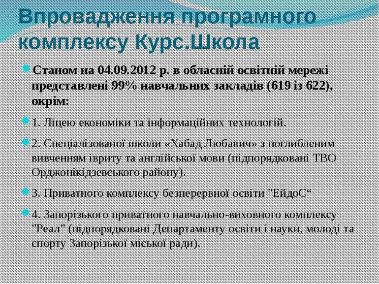 Впровадження програмного комплексу Курс.Школа Станом на 04.09.2012 р. в облас...
