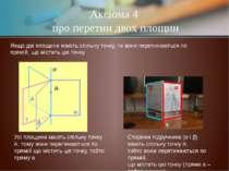 Аксіома 4 про перетин двох площин Якщо дві площини мають спільну точку, то во...