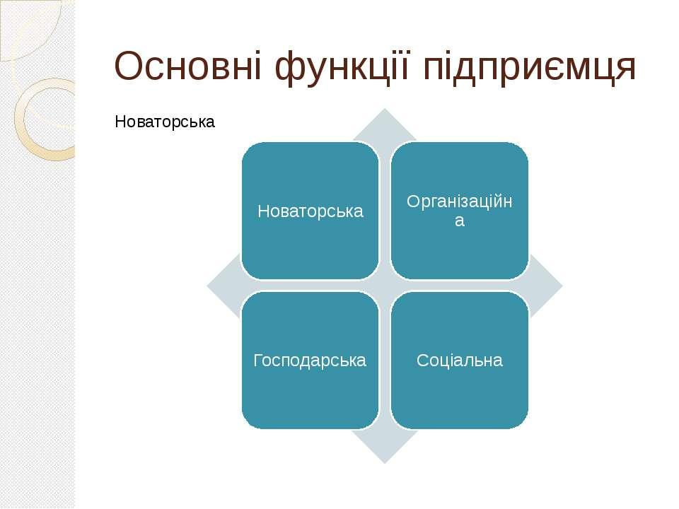 Основні функції підприємця