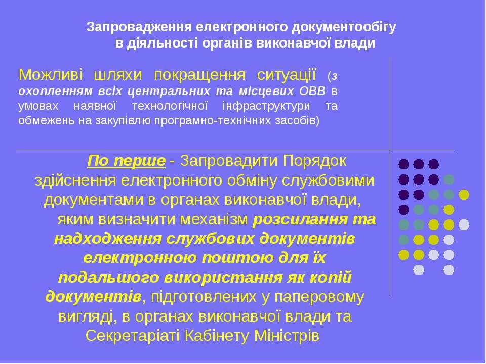 Запровадження електронного документообігу в діяльності органів виконавчої вла...
