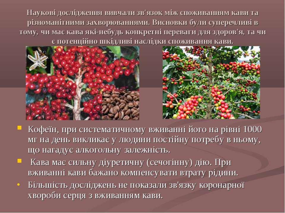 Наукові дослідження вивчали зв'язок між споживанням кави та різноманітними за...