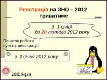 Реєстрація на ЗНО – 2012 триватиме Початок роботи пунктів реєстрації: