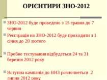 ОРІЄНТИРИ ЗНО-2012 ЗНО-2012 буде проведено з 15 травня до 7 червня Реєстрація...