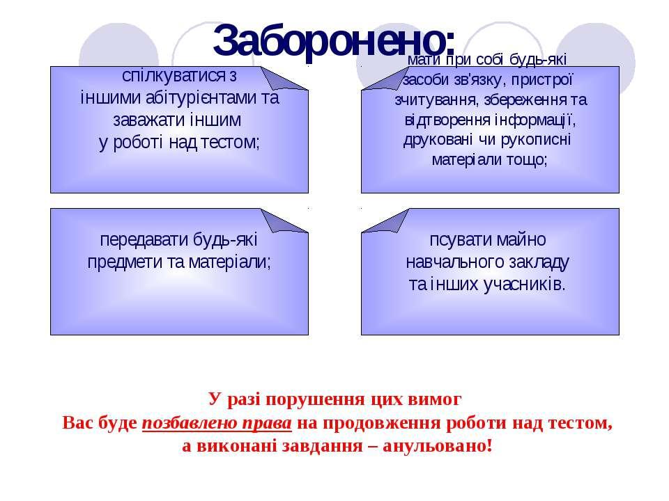Заборонено: спілкуватися з іншими абітурієнтами та заважати іншим у роботі на...