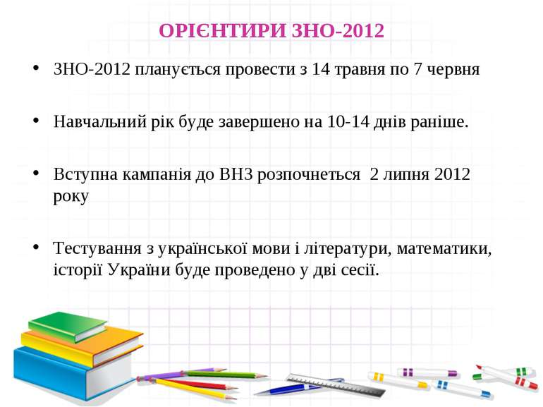 ОРІЄНТИРИ ЗНО-2012 ЗНО-2012 планується провести з 14 травня по 7 червня Навча...