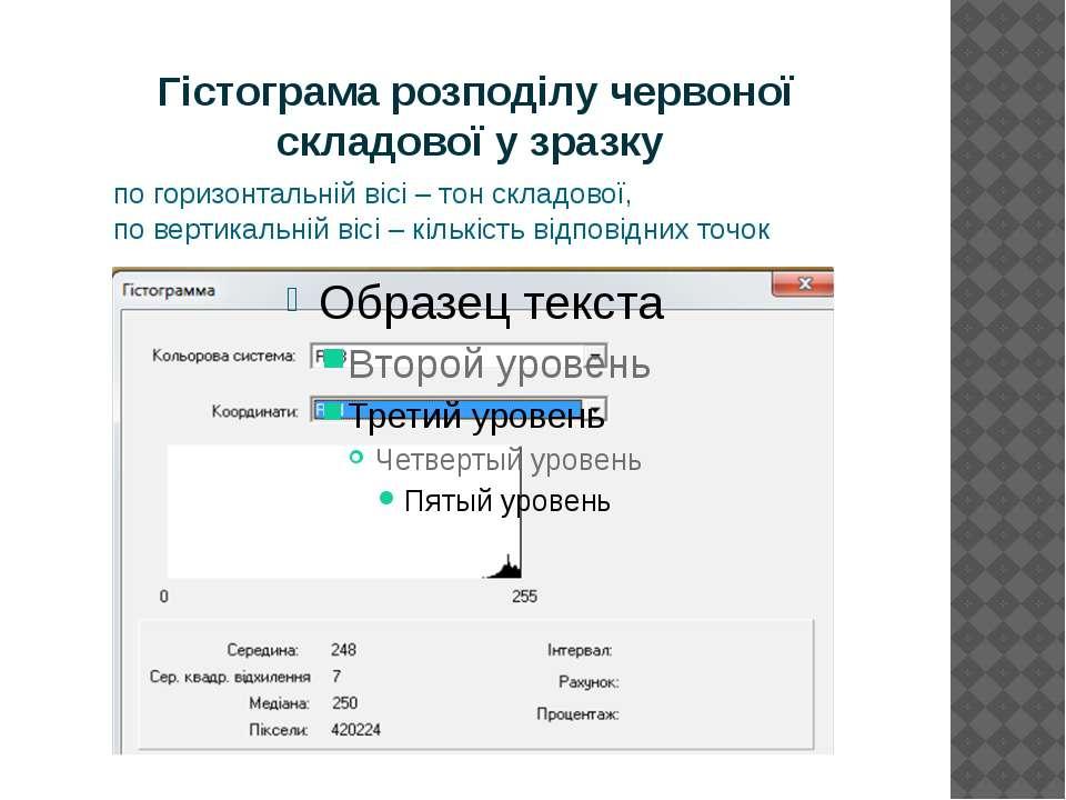 Гістограма розподілу червоної складової у зразку по горизонтальній вісі – тон...