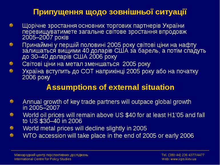 Припущення щодо зовнішньої ситуації Щорічне зростання основних торгових партн...