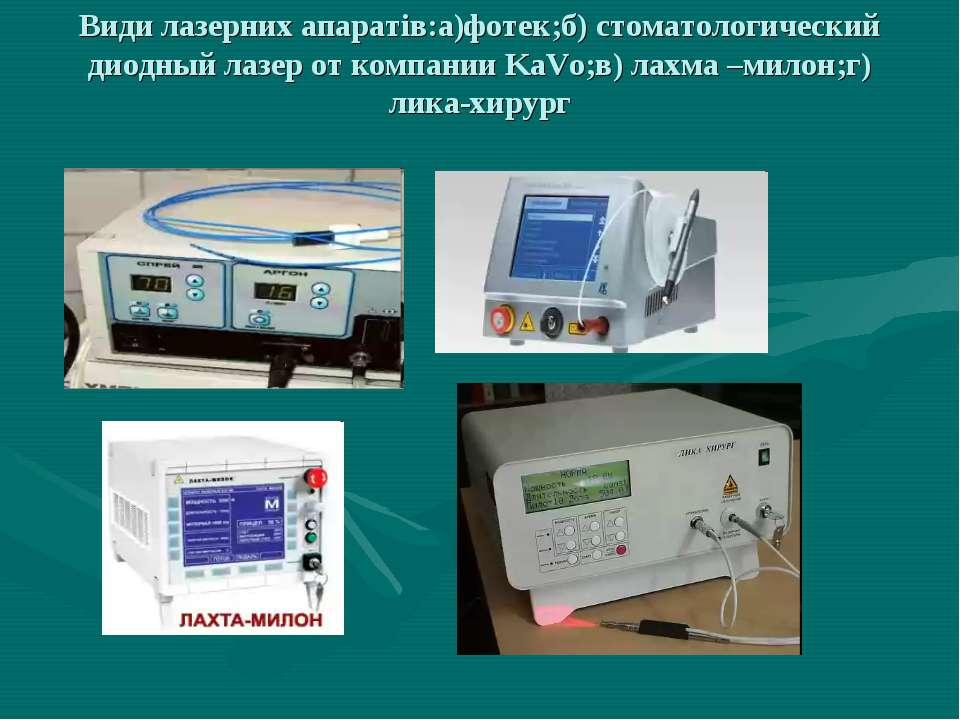 Види лазерних апаратів:а)фотек;б) стоматологический диодный лазер от компании...