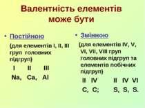 Валентність елементів може бути Постійною (для елементів I, II, III груп голо...