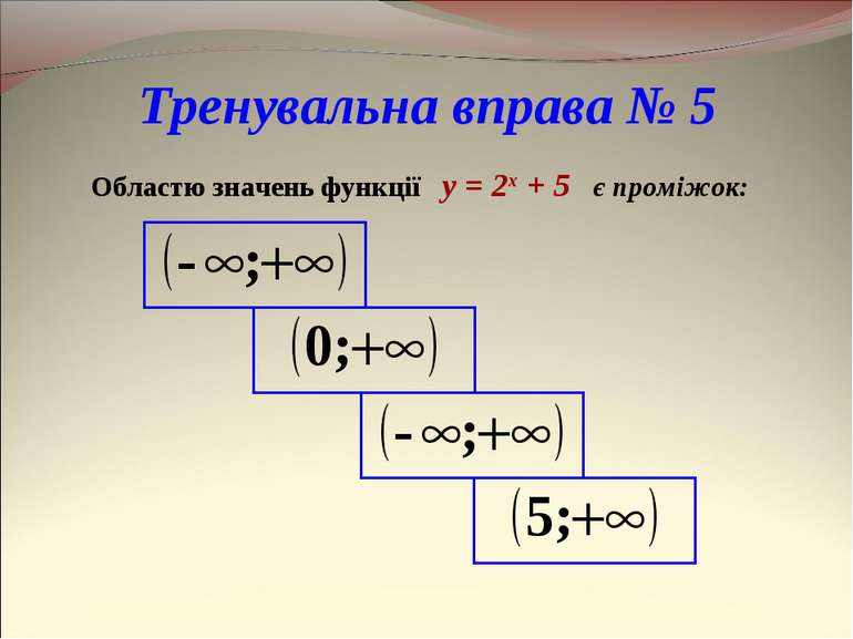 Тренувальна вправа № 5 Областю значень функції y = 2x + 5 є проміжок: