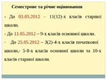 - До 03.05.2012 – 11(12)-х класів старшої школи. - До 11.05.2012 – 9-х класів...