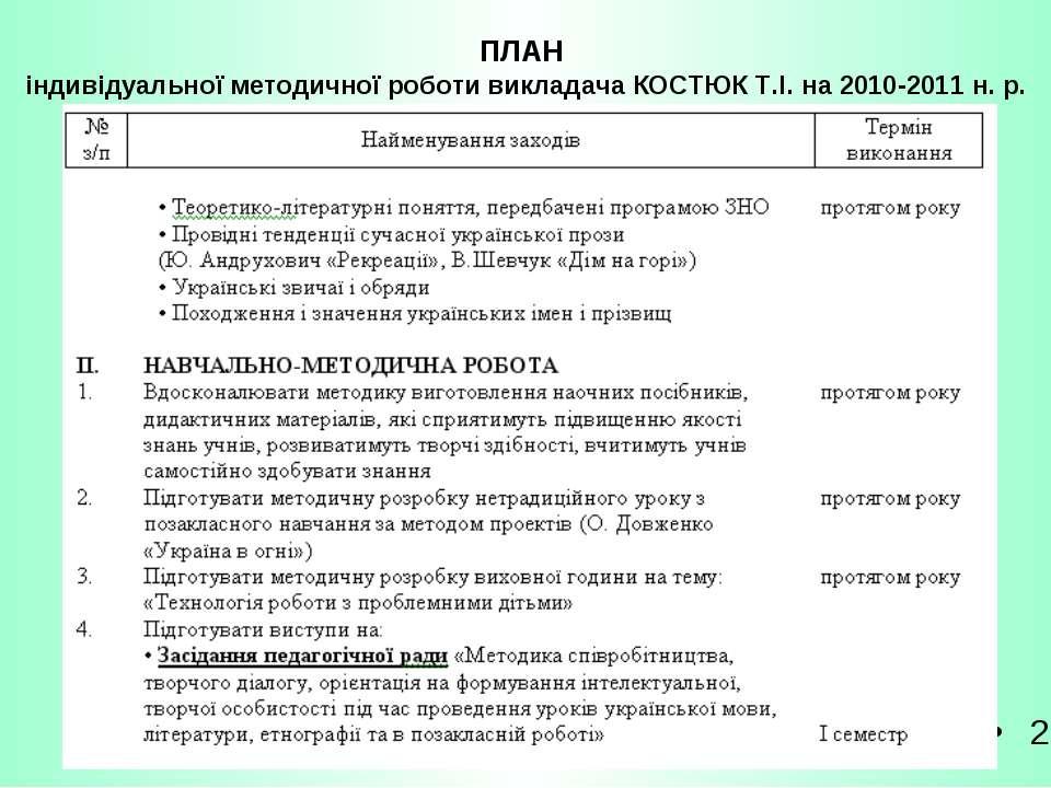 ПЛАН індивідуальної методичної роботи викладача КОСТЮК Т.І. на 2010-2011 н. р. 2