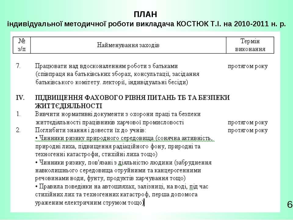 ПЛАН індивідуальної методичної роботи викладача КОСТЮК Т.І. на 2010-2011 н. р. 6