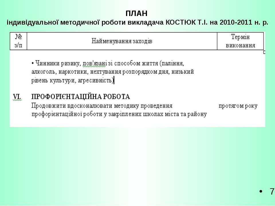 ПЛАН індивідуальної методичної роботи викладача КОСТЮК Т.І. на 2010-2011 н. р. 7