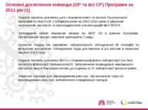 Основні досягнення команди (ОР та всі СР) Програми за 2011 рік (1) Надали тех...