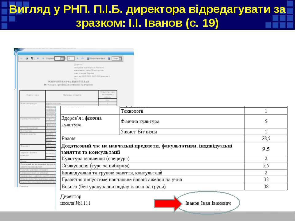 Вигляд у РНП. П.І.Б. директора відредагувати за зразком: І.І. Іванов (с. 19)