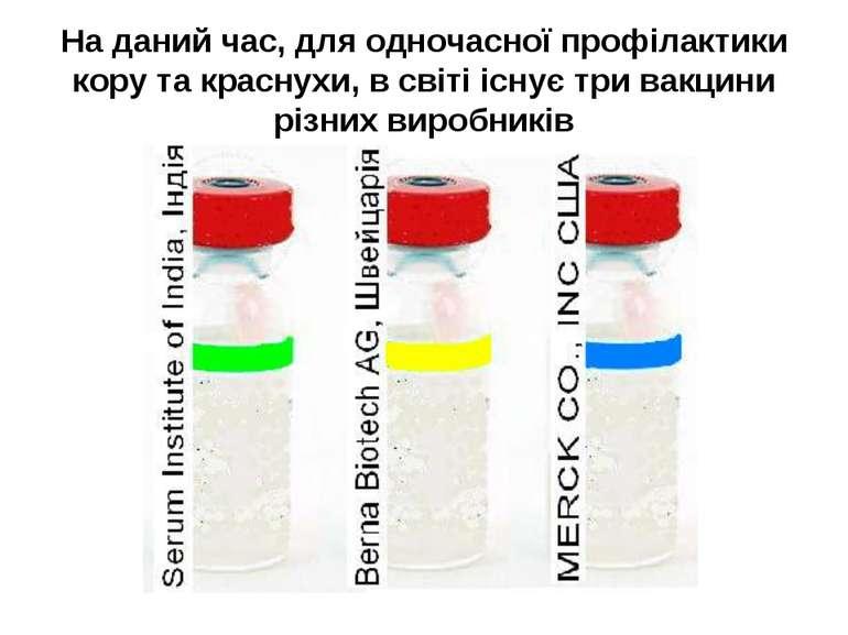 На даний час, для одночасної профілактики кору та краснухи, в світі існує три...
