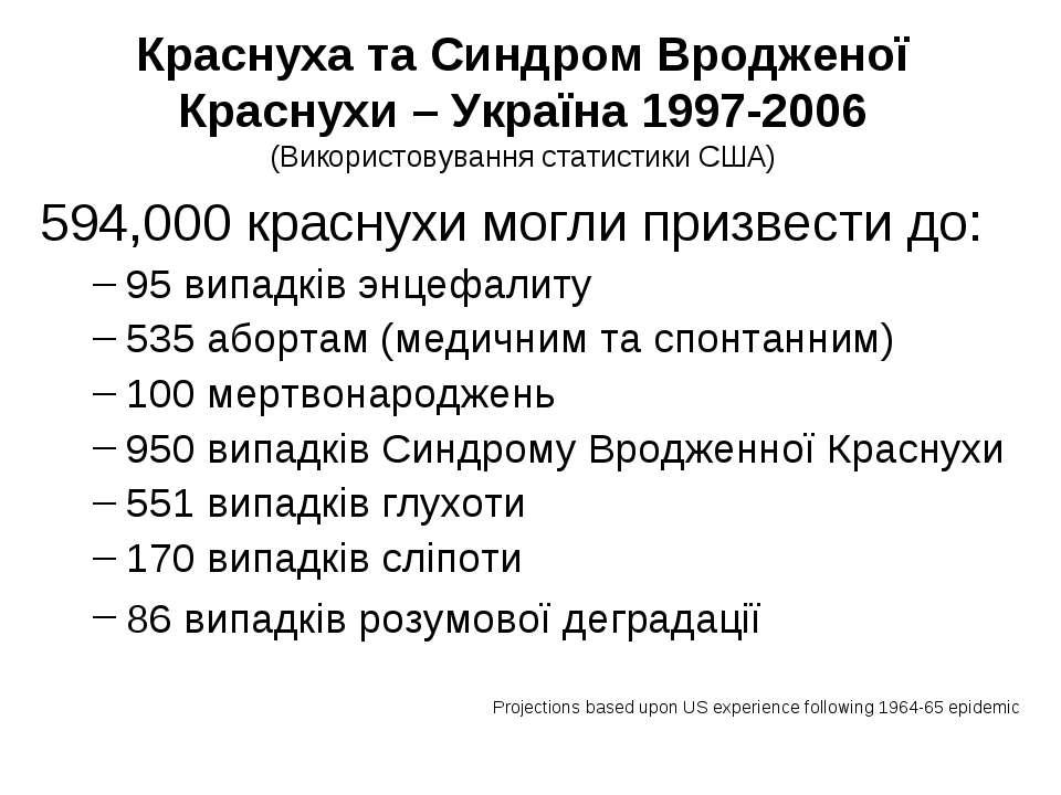 Краснуха та Синдром Вродженої Краснухи – Україна 1997-2006 (Використовування ...