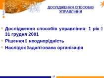 * ДОСЛІДЖЕННЯ СПОСОБІВ УПРАВЛІННЯ Дослідження способів управління: 1 рік 31 г...