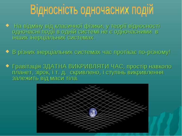 На відміну від класичної фізики, у теорії відносності одночасні події в одні...