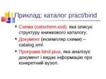 Приклад: каталог pract/bind Схема (catschem.xsd), яка описує структуру книжко...
