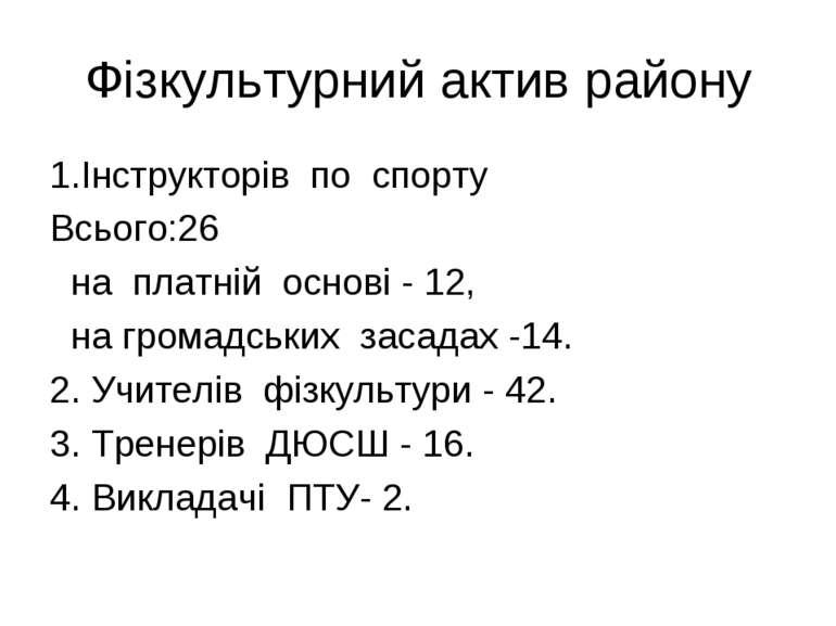 Фізкультурний актив району 1.Інструкторів по спорту Всього:26 на платній осно...