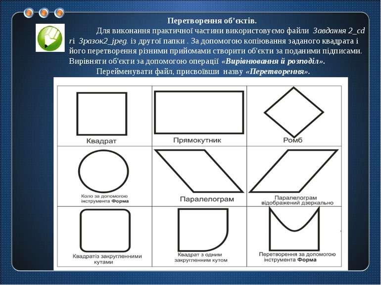 Перетворення об'єктів. Для виконання практичної частини використовуємо файли ...