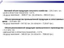 Валовой объем продукции сельского хозяйства – 228,2 млн. грн. - доля в област...