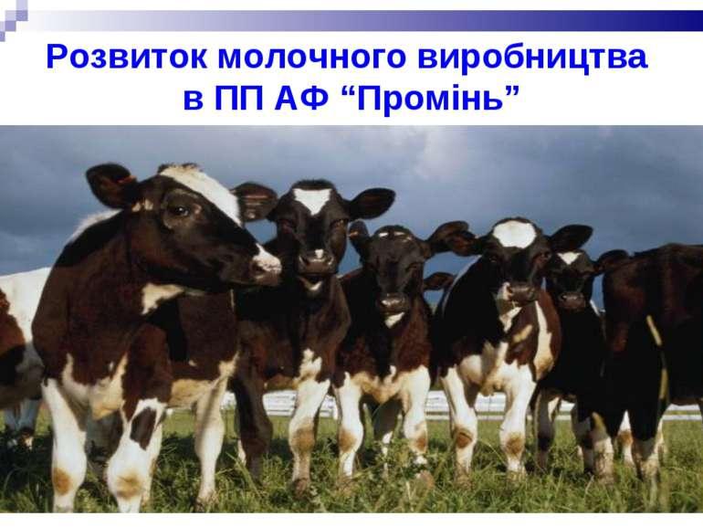 """Розвиток молочного виробництва в ПП АФ """"Промінь"""""""