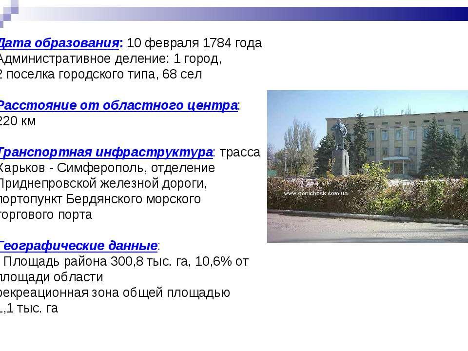Дата образования: 10 февраля 1784 года Административное деление: 1 город, 2 п...