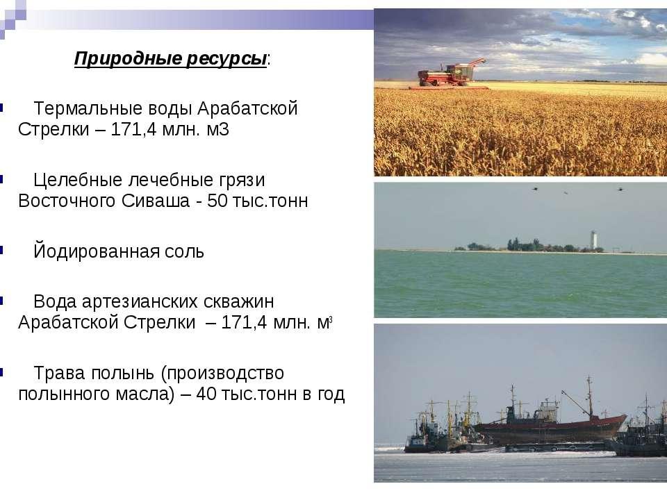 Природные ресурсы: Термальные воды Арабатской Стрелки – 171,4 млн. м3 Целебны...