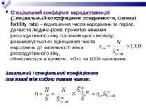 Спеціальний коефіцієнт народжуваності (Специальный коэффициент рождаемости, G...