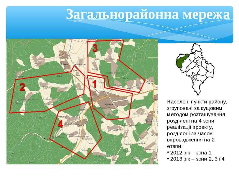Загальнорайонна мережа Населені пункти району, згруповані за кущовим методом ...