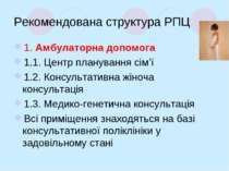 Рекомендована структура РПЦ 1. Амбулаторна допомога 1.1. Центр планування сім...