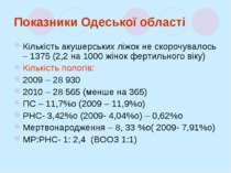 Показники Одеської області Кількість акушерських ліжок не скорочувалось – 137...