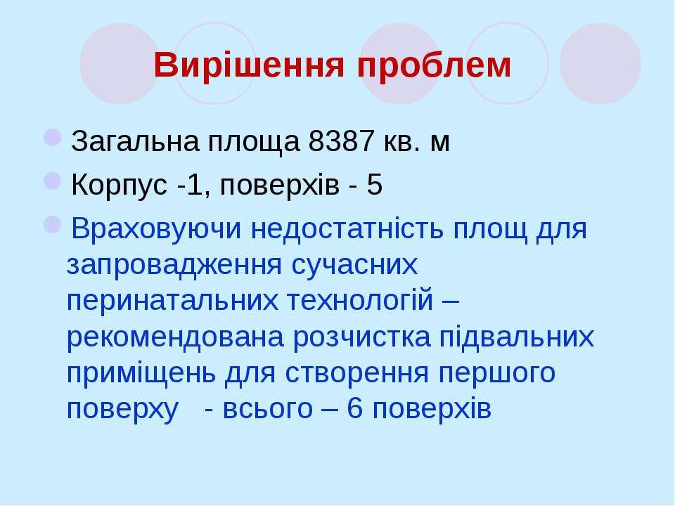 Вирішення проблем Загальна площа 8387 кв. м Корпус -1, поверхів - 5 Враховуюч...